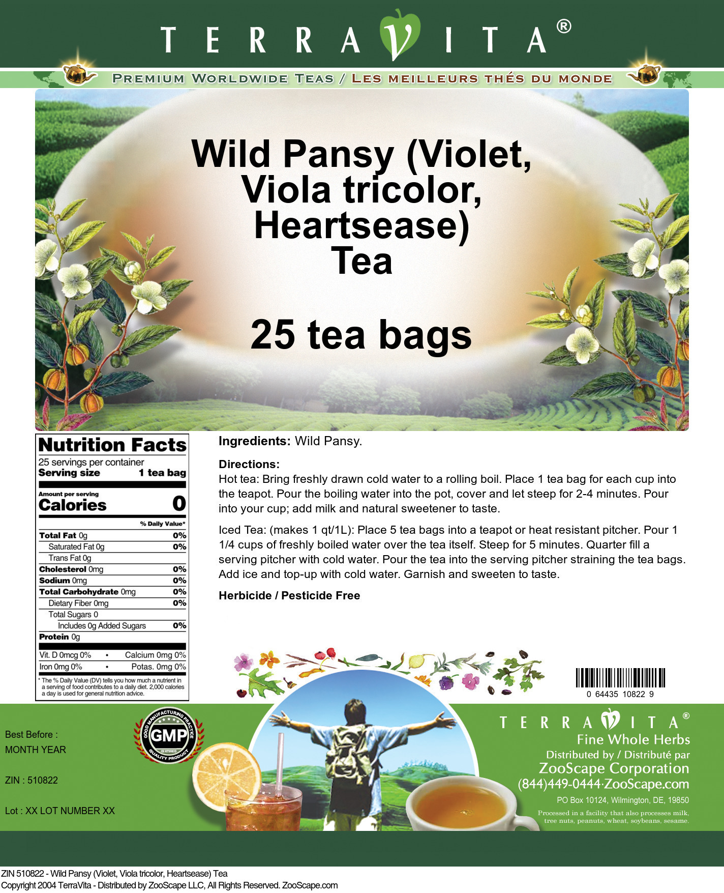 Wild Pansy (Violet, Viola tricolor, Heartsease) Tea - Label