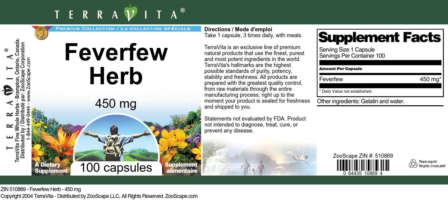 Feverfew Herb - 450 mg