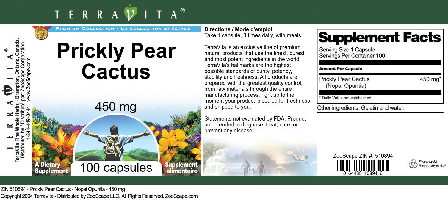 Prickly Pear Cactus - Nopal Opuntia - 450 mg
