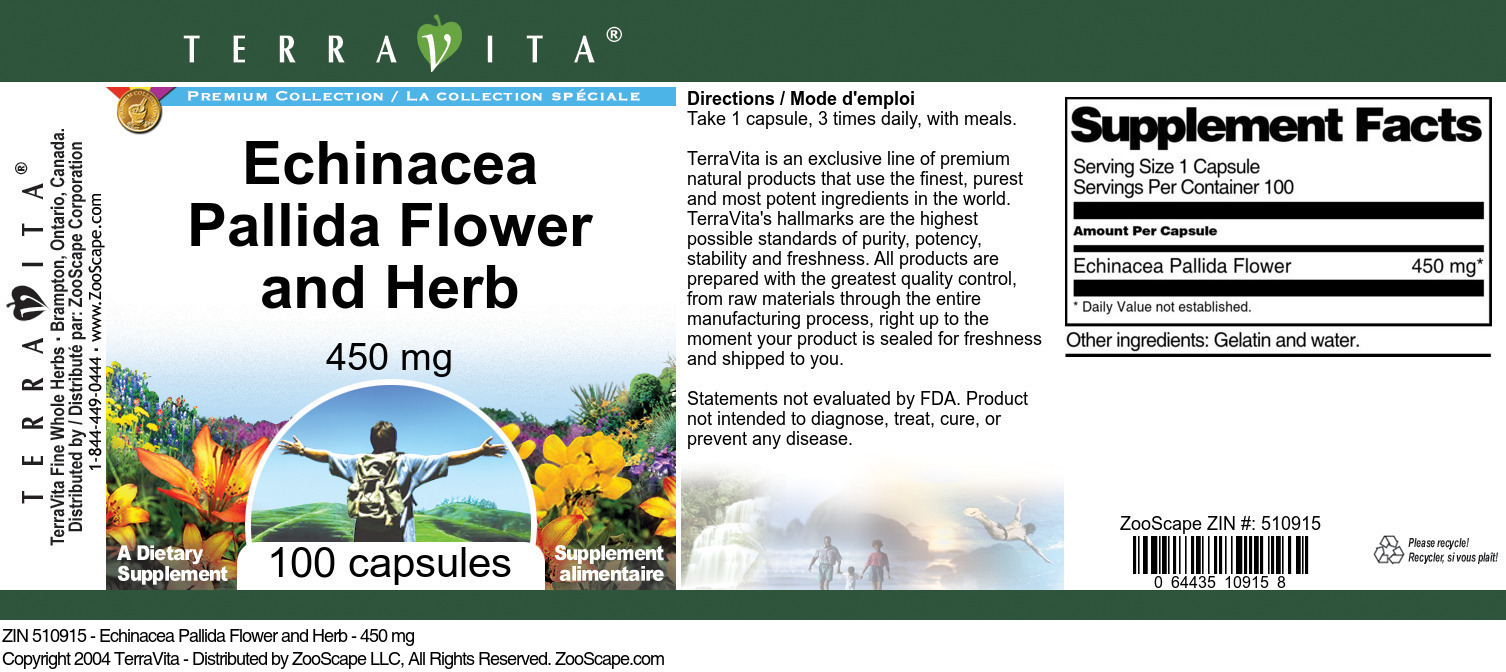 Echinacea Pallida Flower and Herb - 450 mg