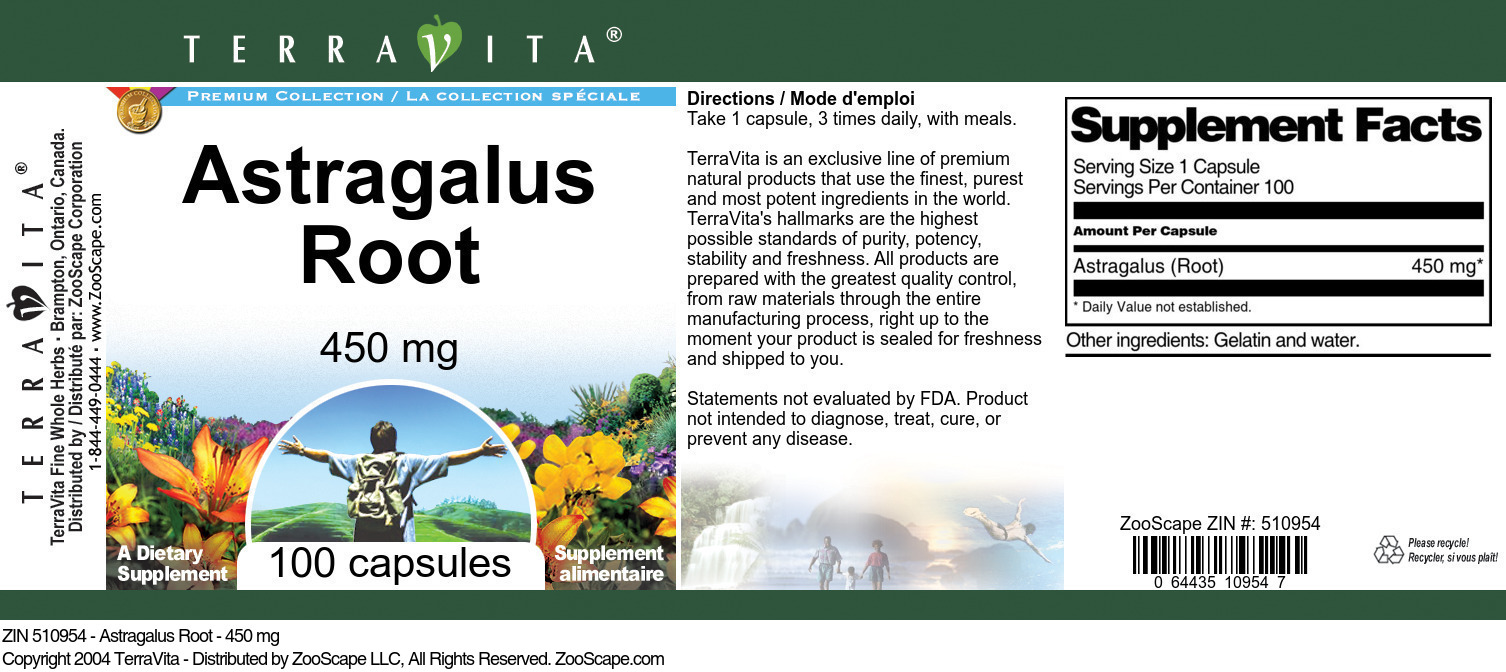 Astragalus Root - 450 mg - Label