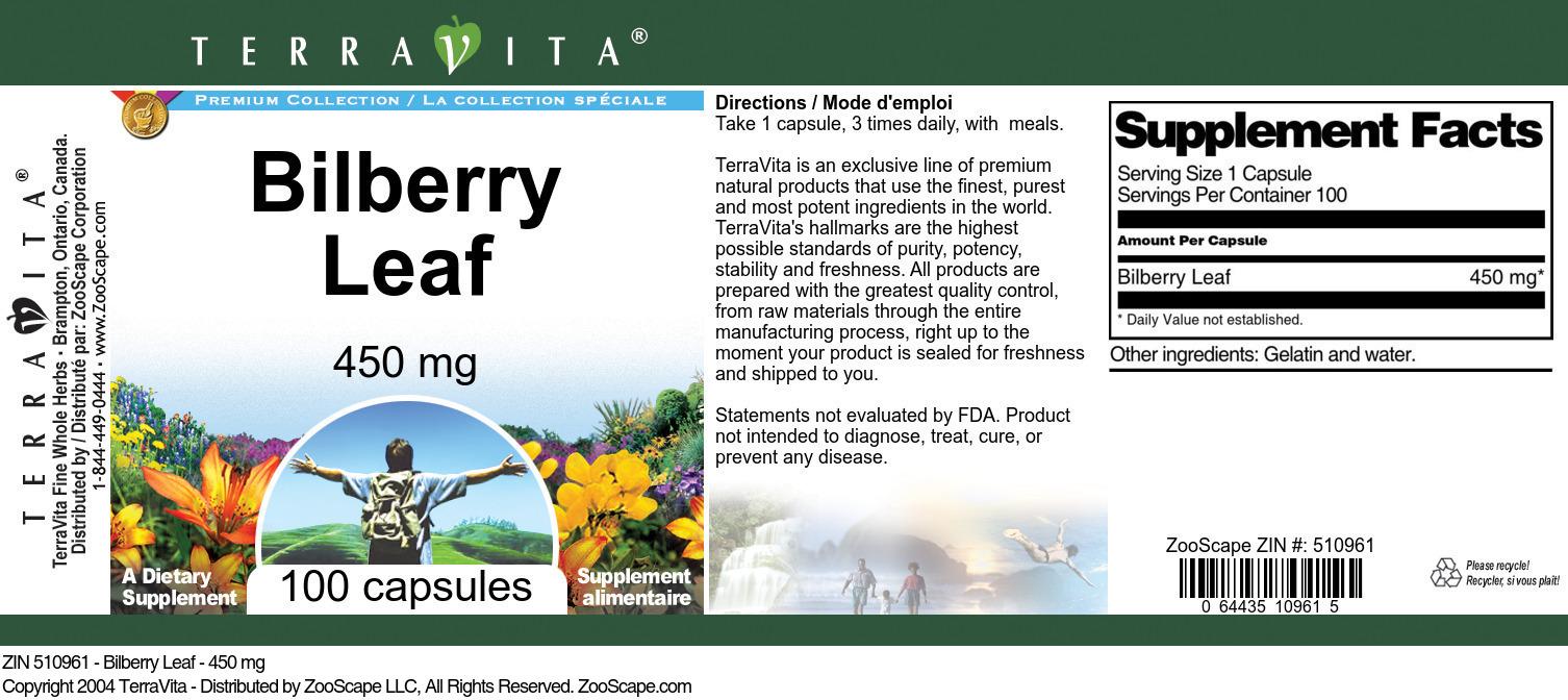 Bilberry Leaf - 450 mg - Label