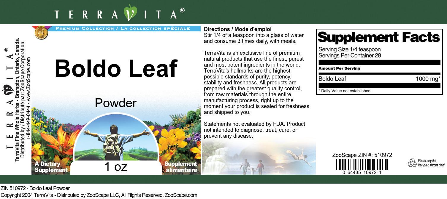 Boldo Leaf Powder - Label