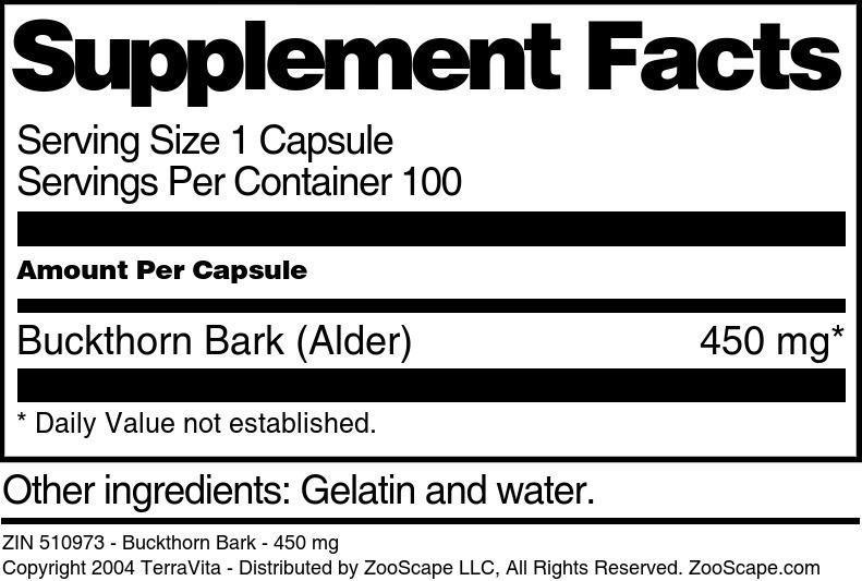 Buckthorn Bark - 450 mg