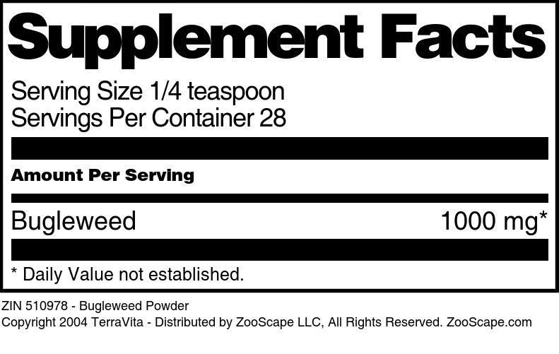 Bugleweed Powder - Label