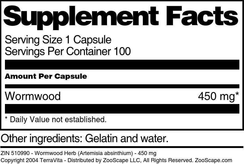 Wormwood Herb (Artemisia absinthium) - 450 mg