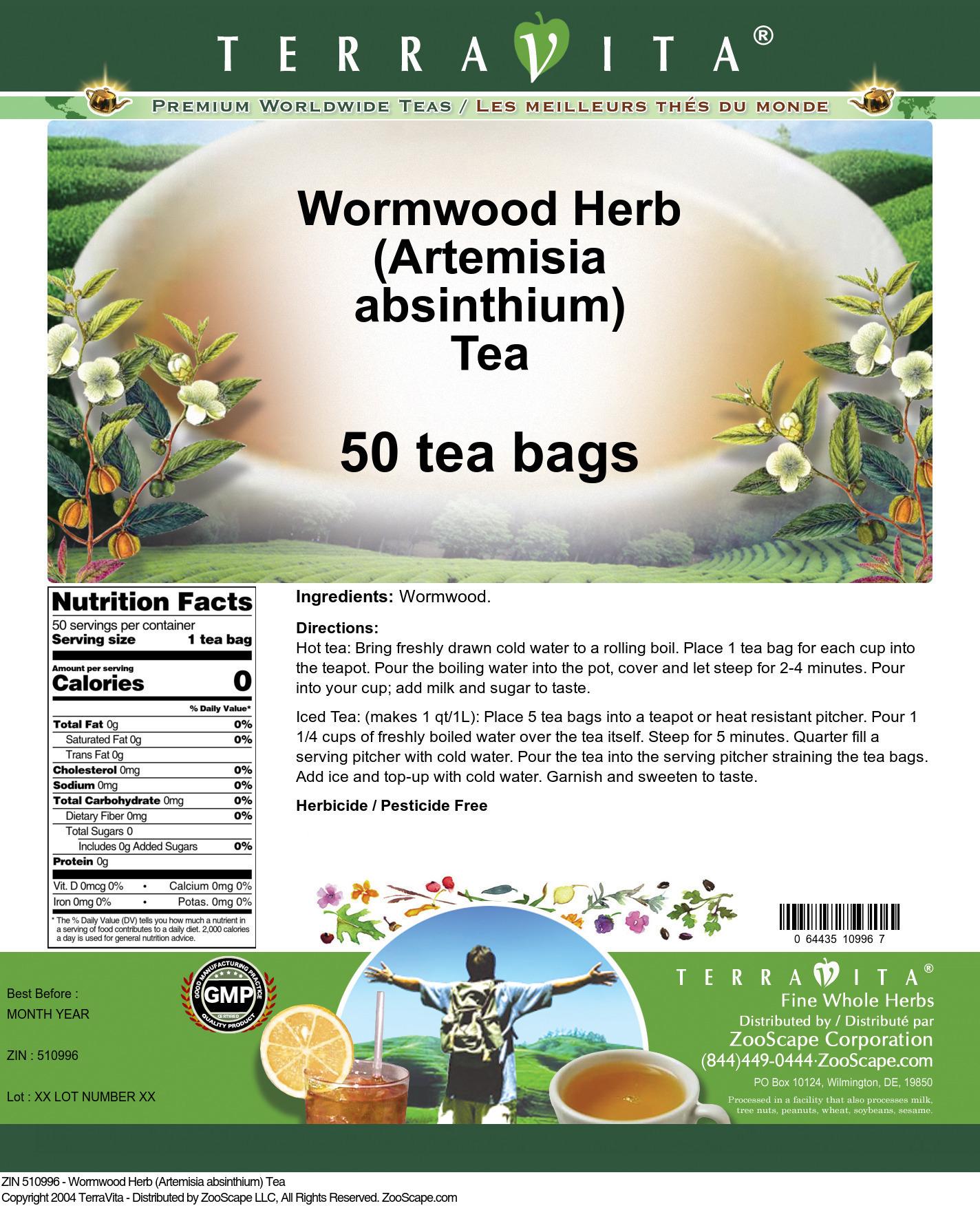 Wormwood Herb (Artemisia absinthium) Tea