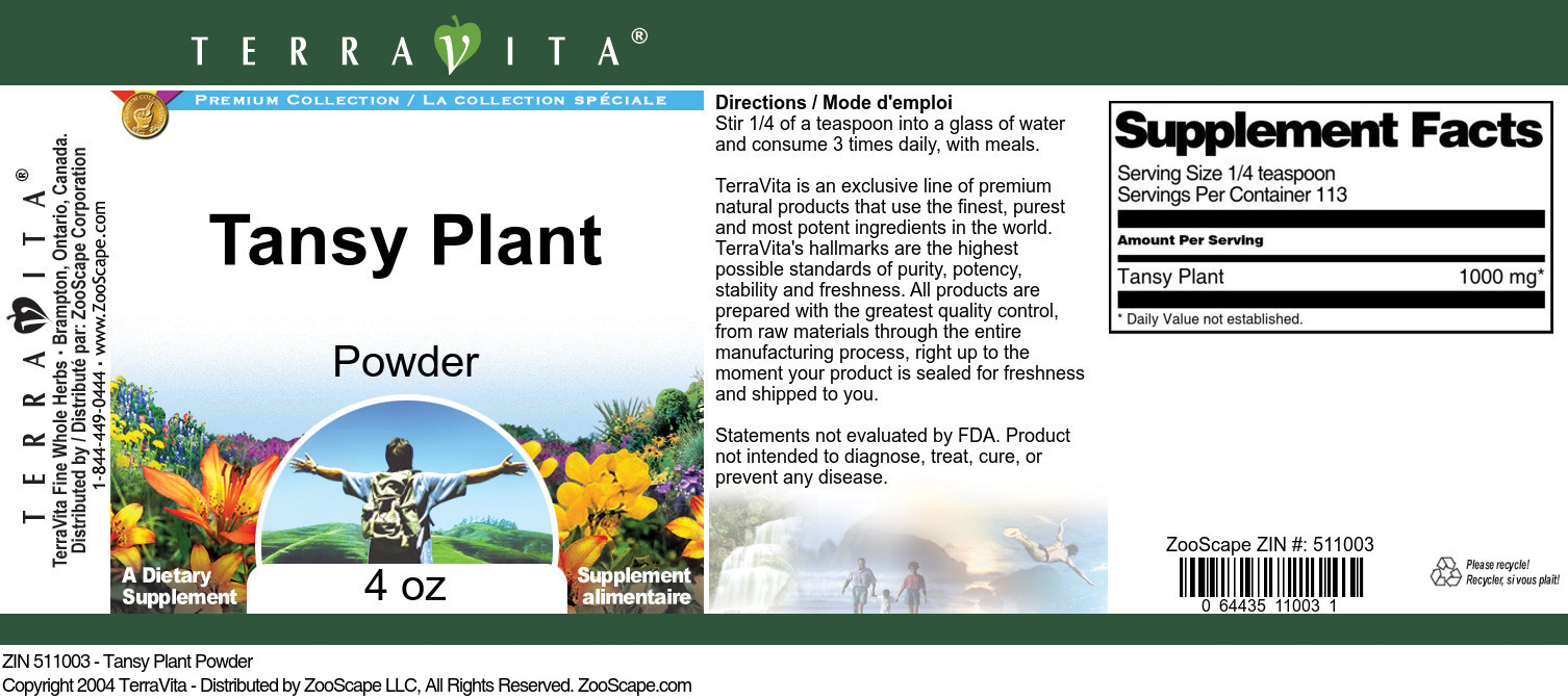 Tansy Plant Powder - Label