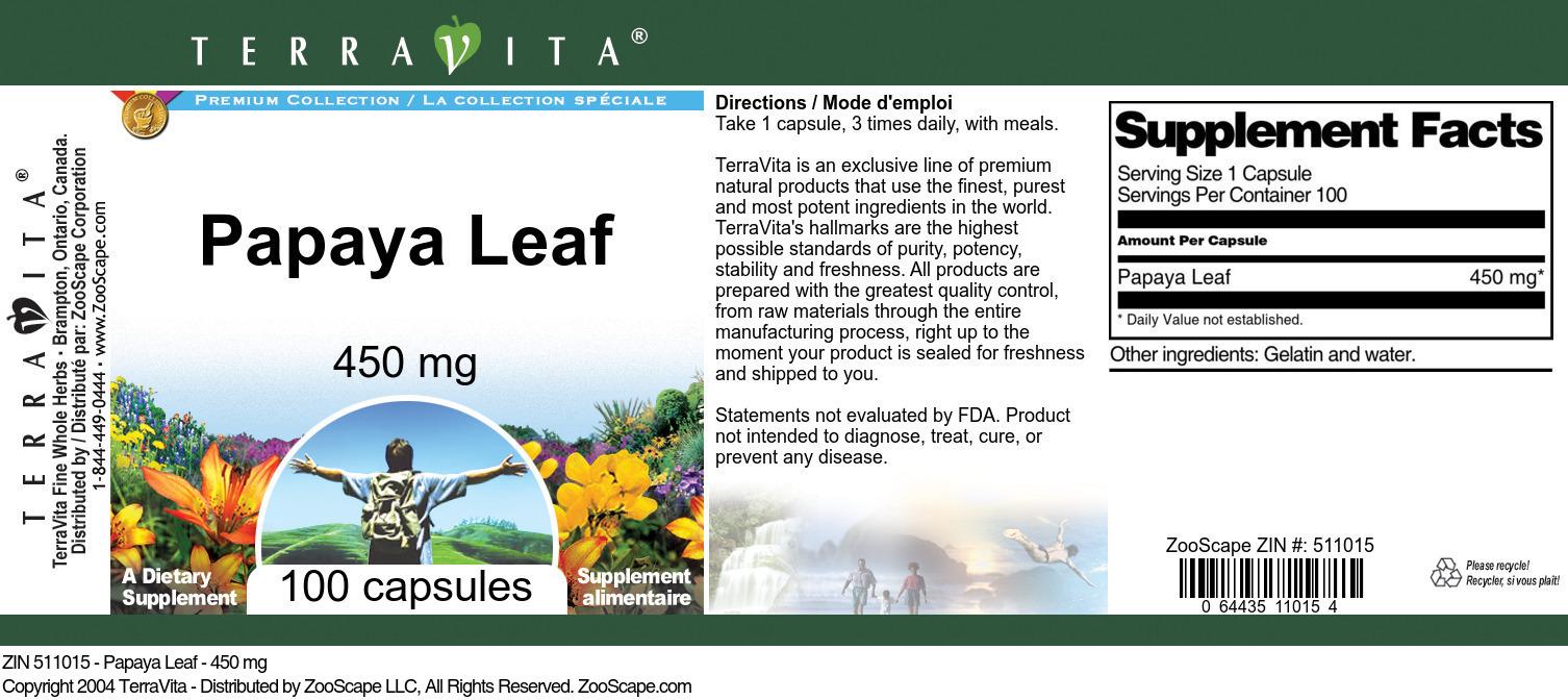 Papaya Leaf - 450 mg