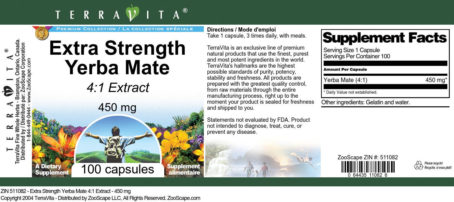 Extra Strength Yerba Mate 4:1 Extract - 450 mg