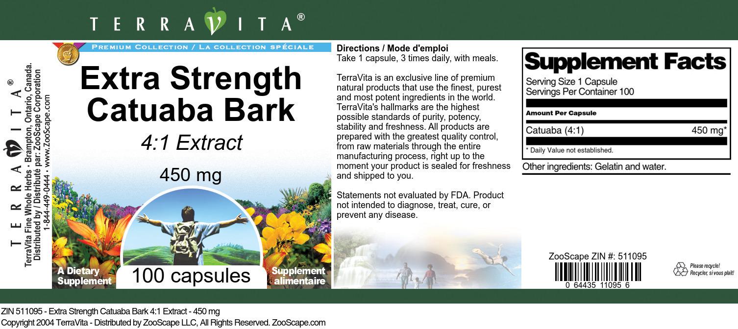 Extra Strength Catuaba Bark 4:1 Extract - 450 mg