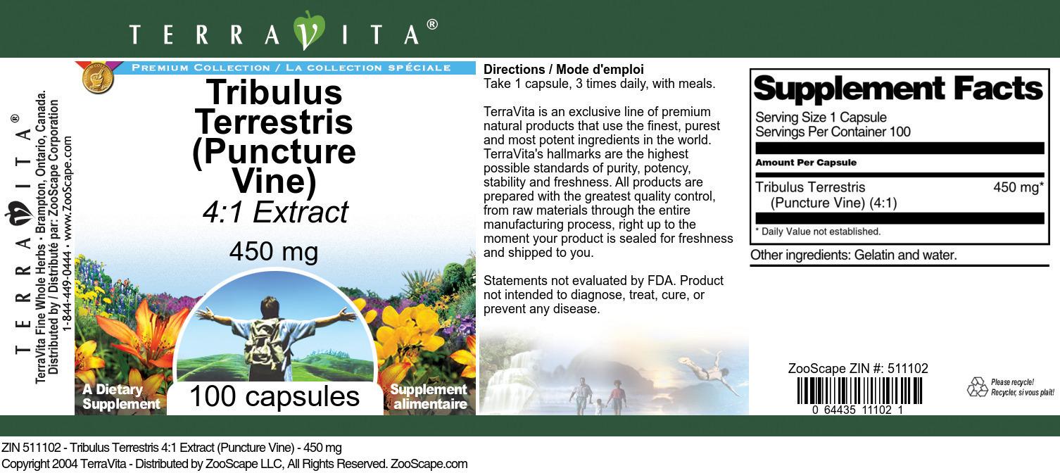 Tribulus Terrestris 4:1 Extract (Puncture Vine) - 450 mg