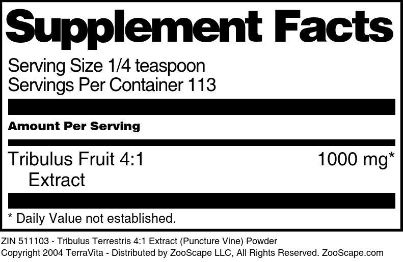 Tribulus Terrestris 4:1 Extract (Puncture Vine) Powder