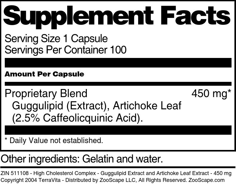 High Cholesterol Complex - Guggulipid Extract and Artichoke Leaf Extract - 450 mg