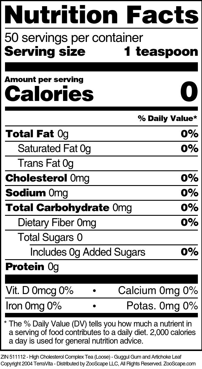 High Cholesterol Complex Tea (Loose) - Guggul Gum and Artichoke Leaf
