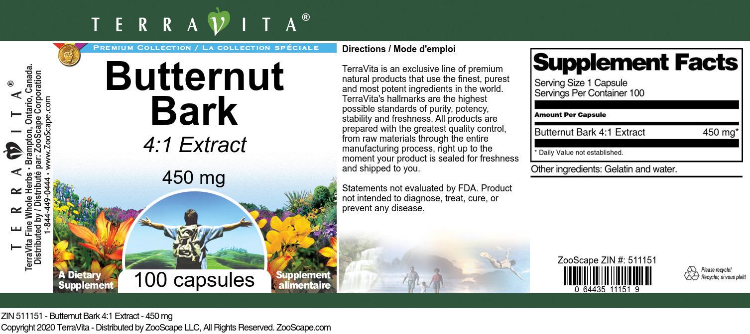 Butternut Bark 4:1 Extract - 450 mg