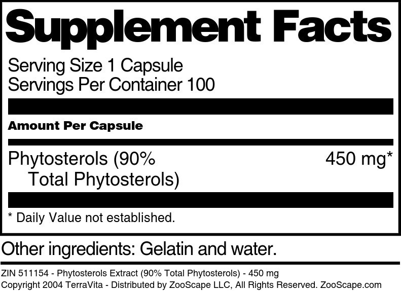 Phytosterols Extract (90% Total Phytosterols) - 450 mg