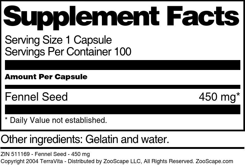 Fennel Seed - 450 mg