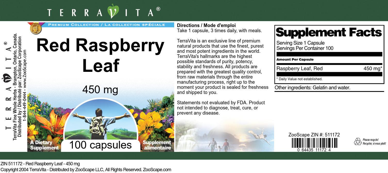 Red Raspberry Leaf - 450 mg