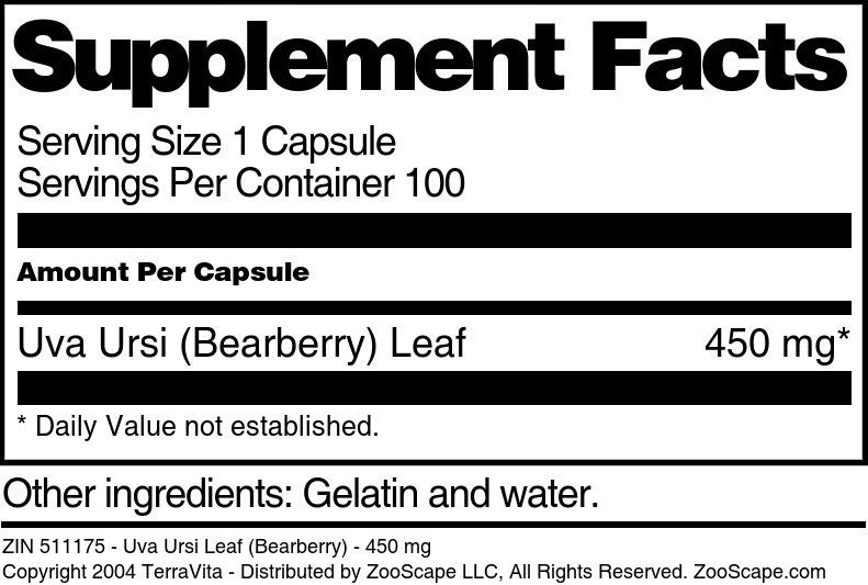 Uva Ursi Leaf (Bearberry) - 450 mg