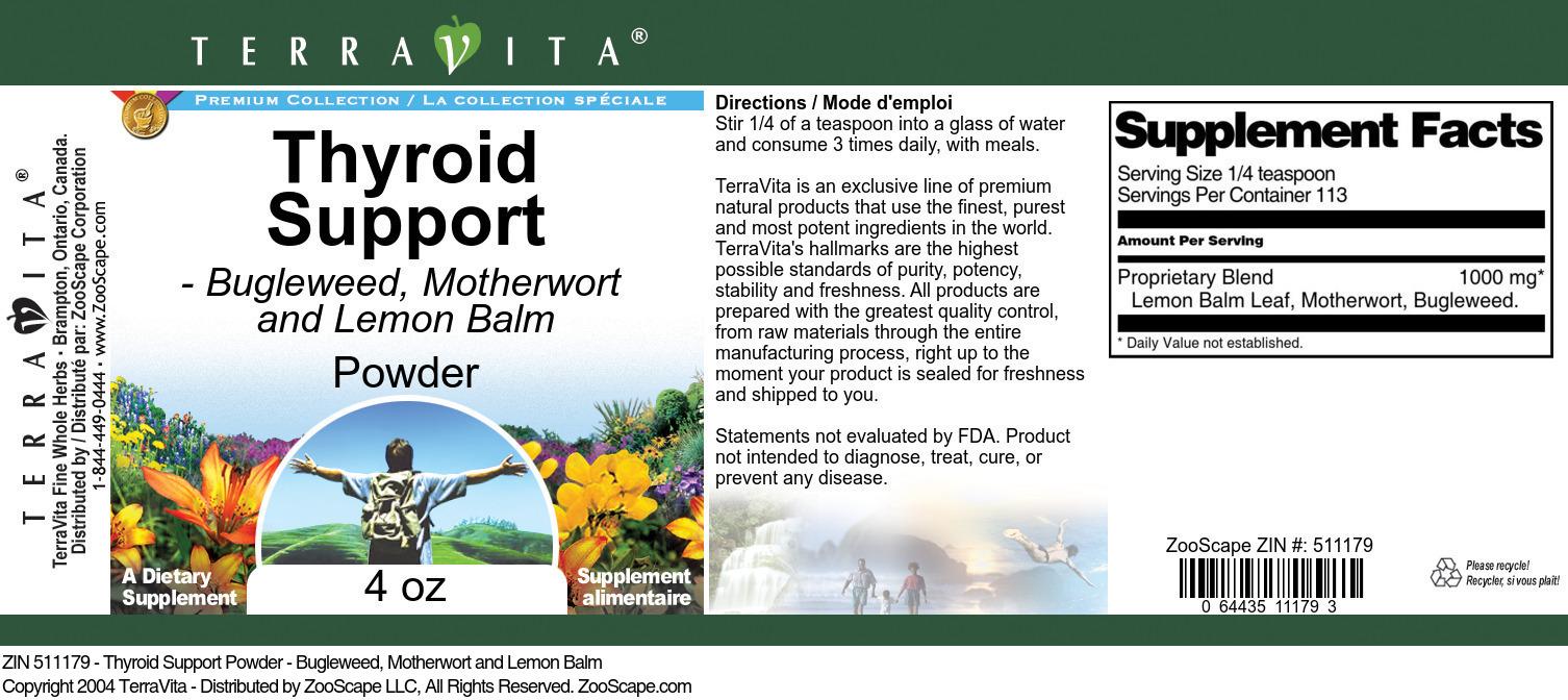 Thyroid Support Powder - Bugleweed, Motherwort and Lemon Balm