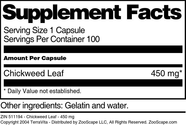 Chickweed Leaf - 450 mg