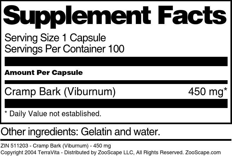 Cramp Bark (Viburnum) - 450 mg