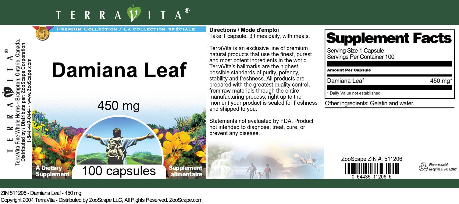 Damiana Leaf - 450 mg