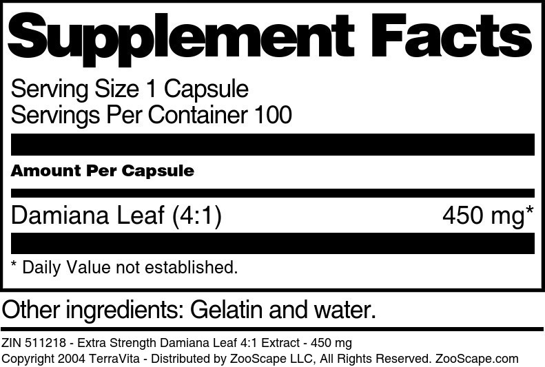 Extra Strength Damiana Leaf 4:1 Extract - 450 mg