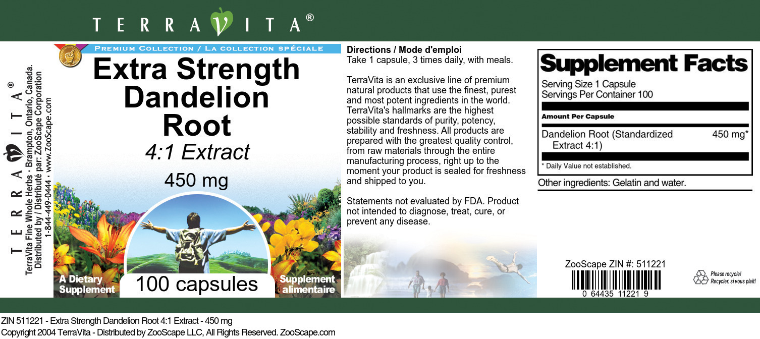 Extra Strength Dandelion Root 4:1 Extract - 450 mg