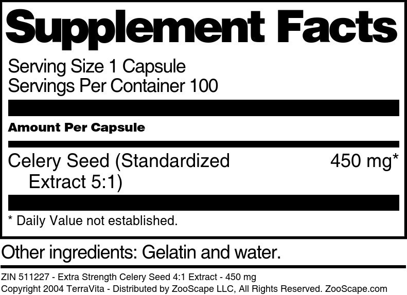 Extra Strength Celery Seed 4:1 Extract - 450 mg