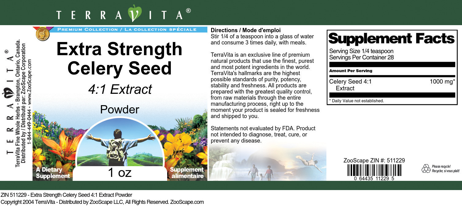 Extra Strength Celery Seed 4:1 Extract Powder