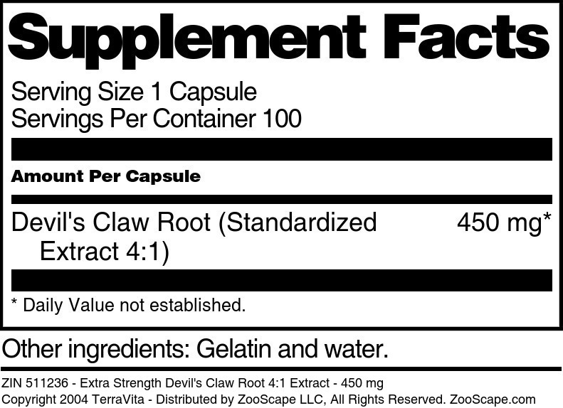 Extra Strength Devil's Claw Root 4:1 Extract - 450 mg
