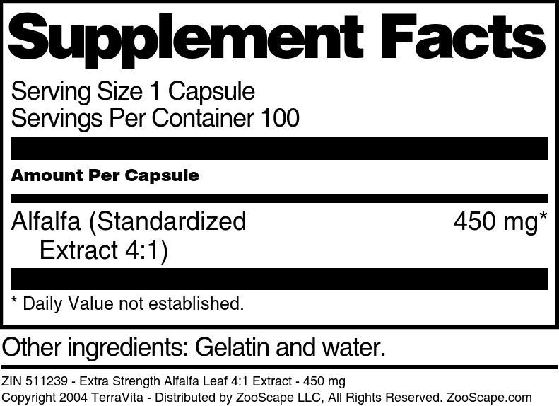 Extra Strength Alfalfa Leaf 4:1 Extract - 450 mg