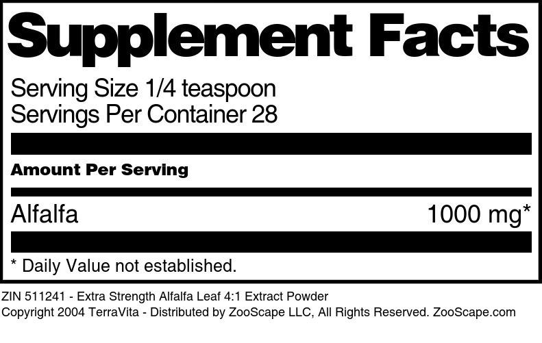 Extra Strength Alfalfa Leaf 4:1 Extract Powder
