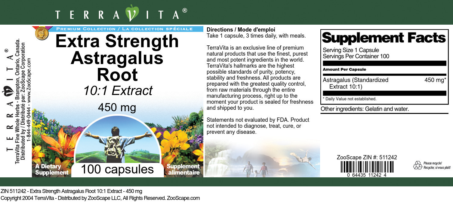 Extra Strength Astragalus Root 10:1 Extract - 450 mg