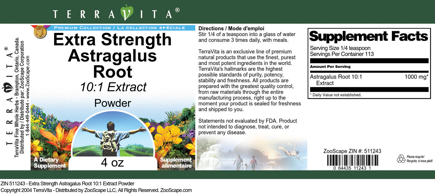 Extra Strength Astragalus Root 10:1 Extract Powder