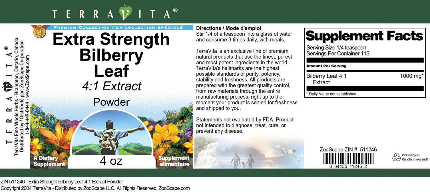 Extra Strength Bilberry Leaf 4:1 Extract Powder