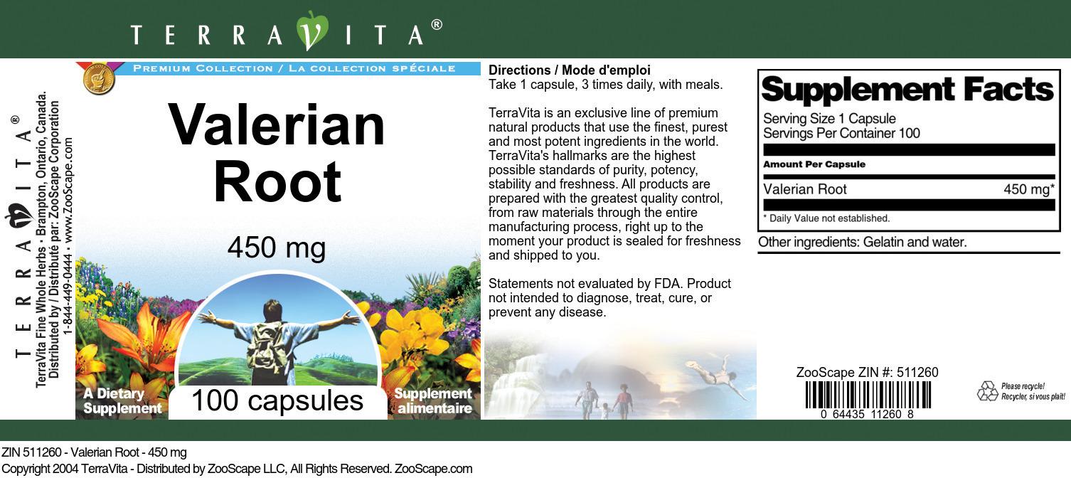 Valerian Root - 450 mg