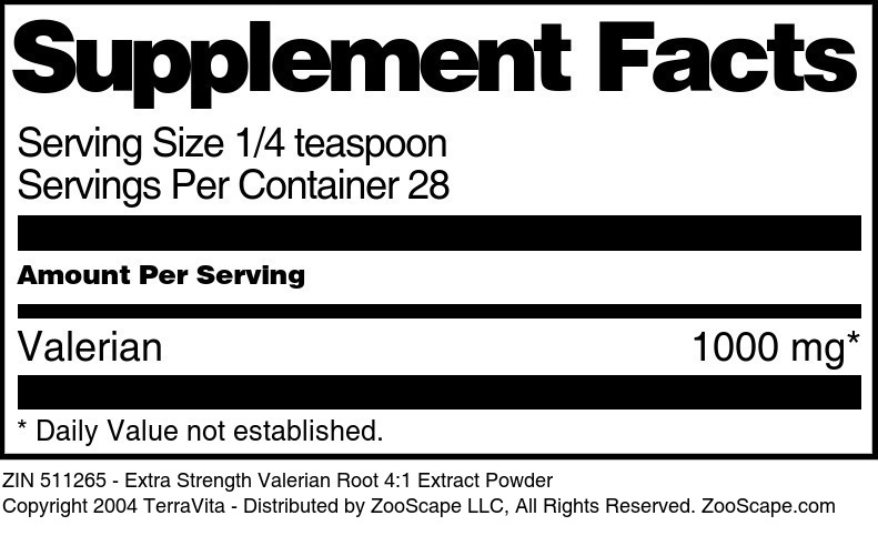 Extra Strength Valerian Root 4:1 Extract Powder