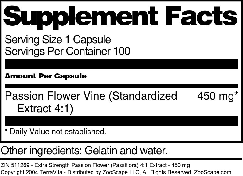 Extra Strength Passion Flower (Passiflora) 4:1 Extract - 450 mg