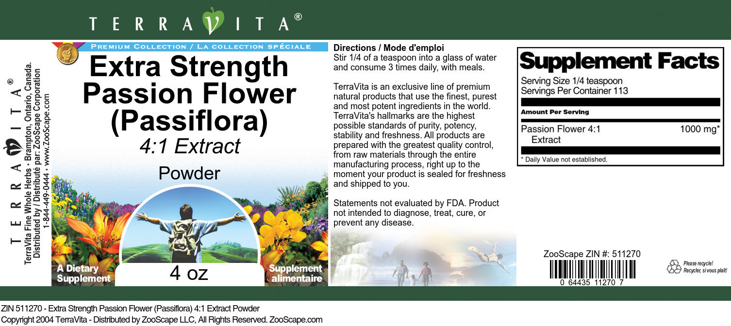 Extra Strength Passion Flower (Passiflora) 4:1 Extract Powder - Label