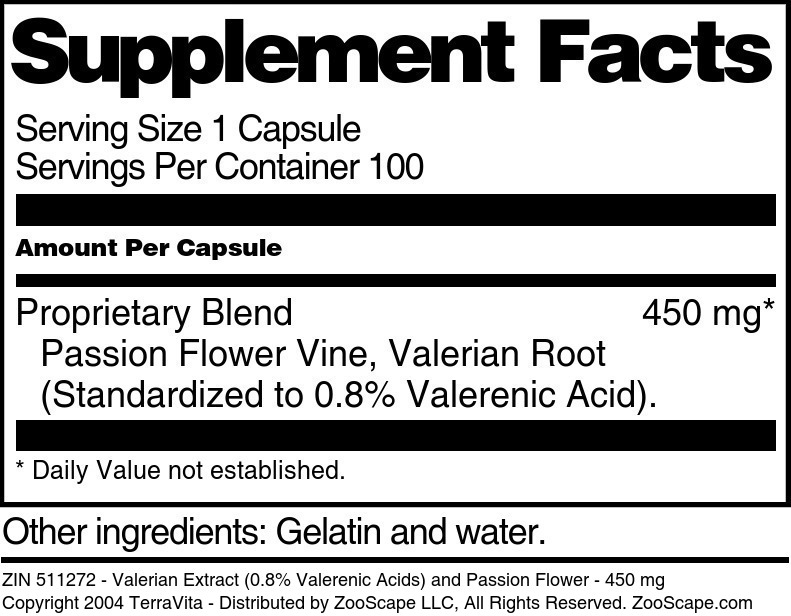 Valerian Extract (0.8% Valerenic Acids) and Passion Flower - 450 mg