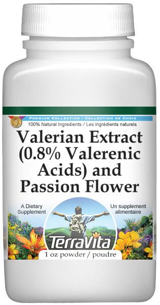 Valerian Extract (0.8% Valerenic Acids) and Passion Flower Powder