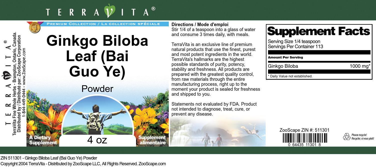 Ginkgo Biloba Leaf (Bai Guo Ye) Powder