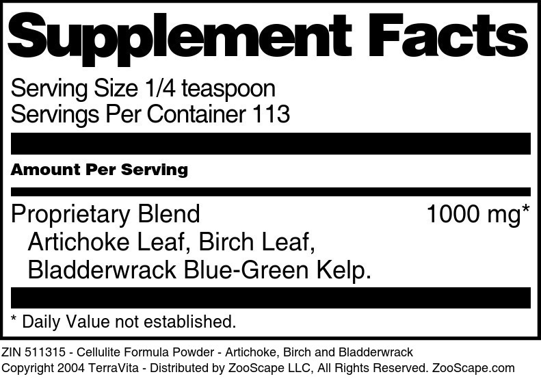Cellulite Formula Powder - Artichoke, Birch and Bladderwrack