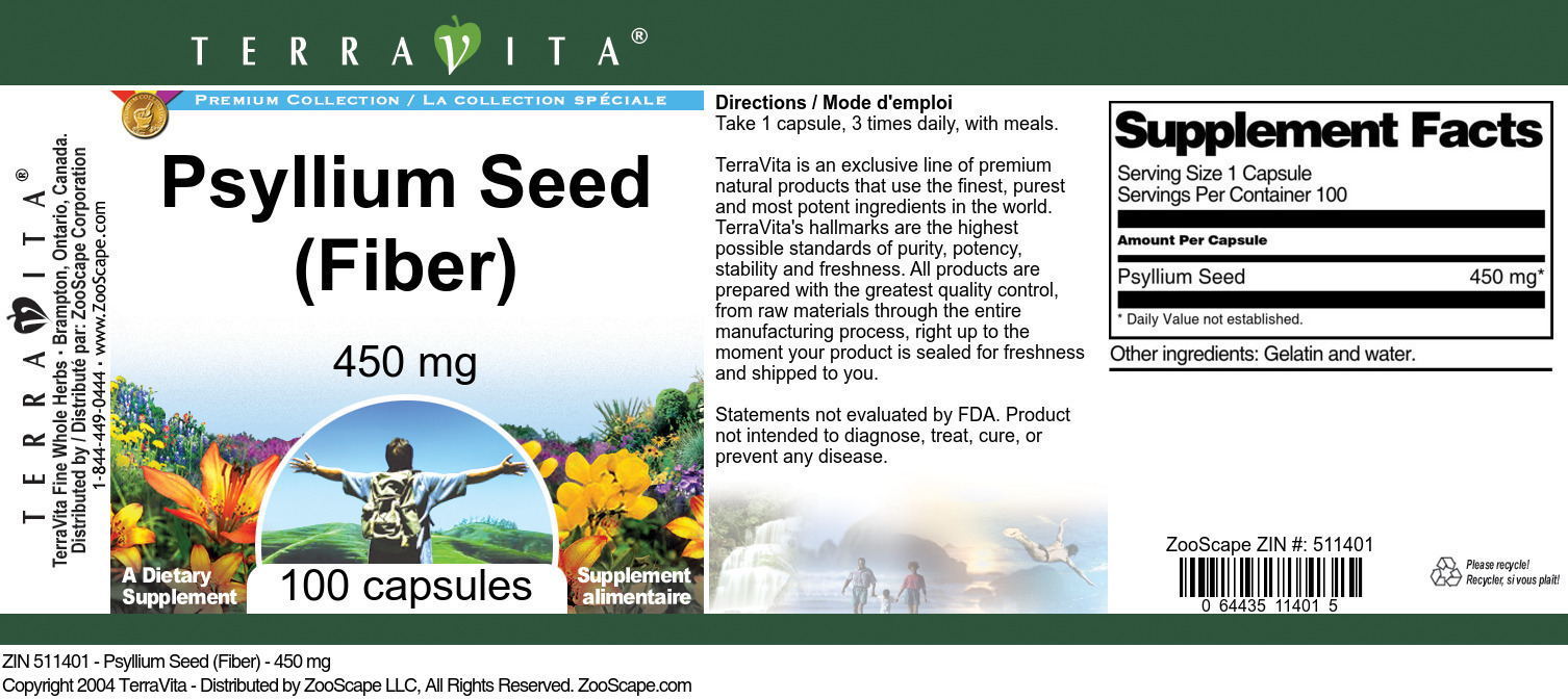 Psyllium Seed (Fiber) - 450 mg
