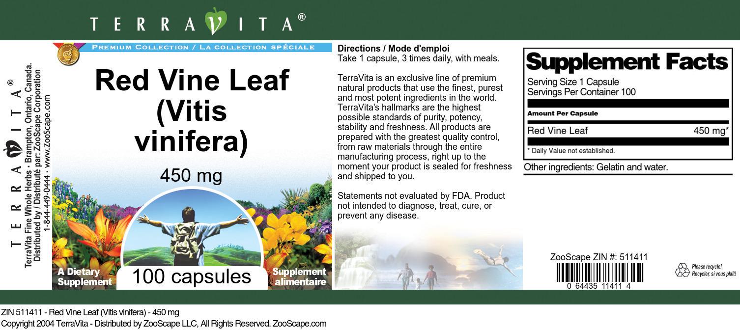 Red Vine Leaf (Vitis vinifera) - 450 mg