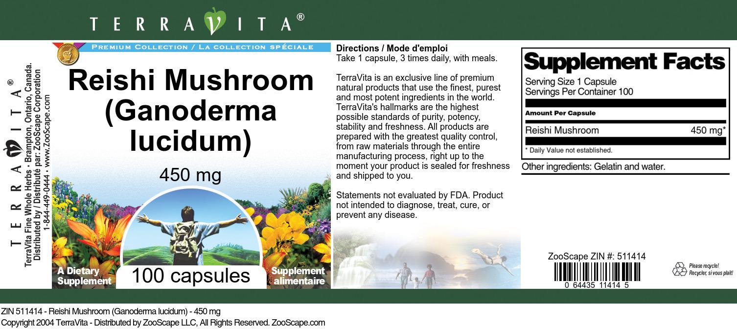 Reishi Mushroom (Ganoderma lucidum) - 450 mg