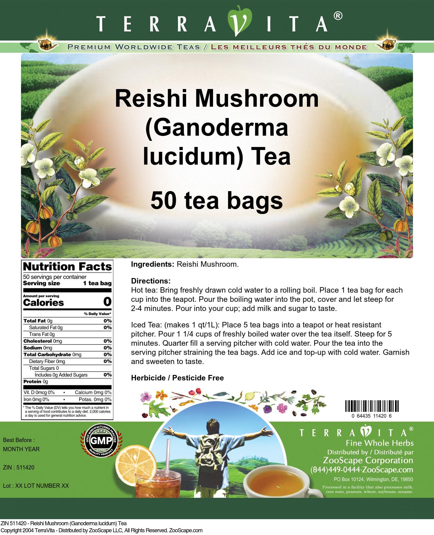 Reishi Mushroom (Ganoderma lucidum) Tea